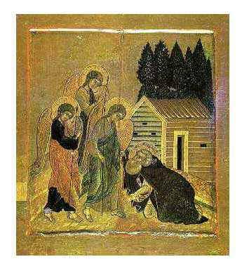 """На 23 году поселения Преподобного, в 1507 году,  в пустыни недалеко от реки Свирь, на берегу Рощинского озера, большой свет явился в его храмине и он увидел трех мужей, вошедших к нему. Они были одеты в светлые одежды и освещены славою небесною """"паче солнца"""". Из уст их святой услышал повеление: Возлюбленный, якоже видиши в Триех Лицах Глаголющего с тобою, созижди церковь во имя Отца и Сына и Святого Духа, Единосущной Троицы... Аз же ти мир Мой оставляю, и мир Мой подам ти""""."""