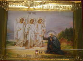 очень интересная икона прп. Александра Свирского и Святой Троицы находится в приходе церкви иконы Смоленской Божией Матери в г. Камызяк Астраханской области.